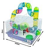 Cage pour hamster 34,5x 28x 24cm avec tubes de couleurs