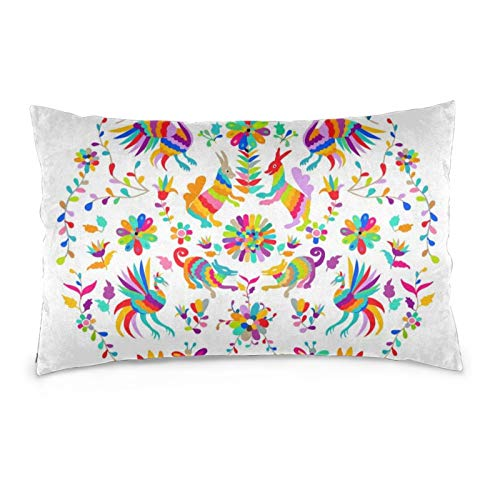 iksrgfvb Pillowcases 16X24inch Vector Folk Mexican Otomi Style Embroidery Throw Pillow Covers Sofa Car Cushion Cover Home Decorative 40X60CM