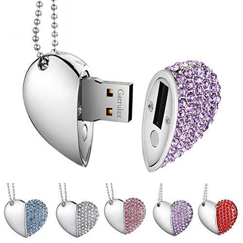Garrulax USB Stick, Premium USB 2.0, Diamant Herzform 8GB / 16GB / 32GB USB-Flash-Laufwerk Wasserdicht Memory Stick Speicherstick High Speed Übertragung