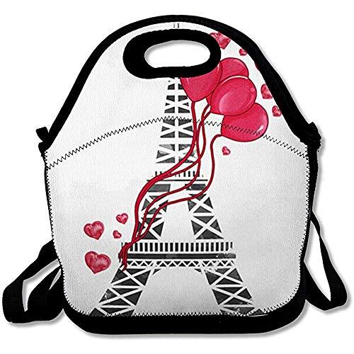 Picknicktas voor reizen, rode ballonnen, aquareltoren Eiffeltoren stad Chanel kleur paar, herbruikbaar, geïsoleerd, lunchbox dode