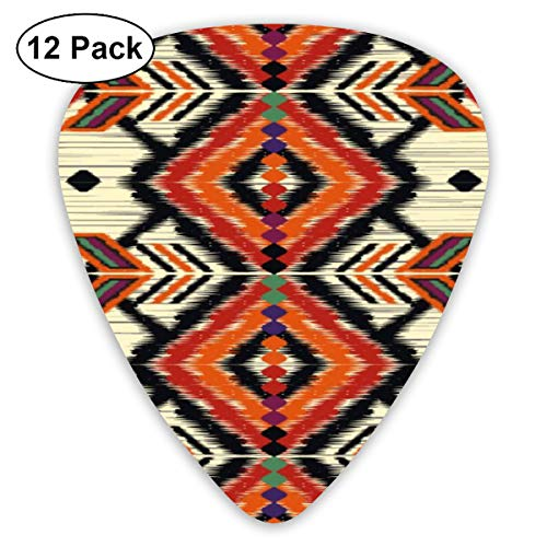 Slaytio Gitarrenplektren, geometrisch, ethnisch, orientalisch, Ikat, traditionelles Muster, 0,96 mm, 0,71 mm, 0,46 mm, für Gitarre, Mandoline und Bass, 12 Stück