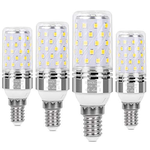 SanGlory 4er Pack E14 LED Lampen, 9W 950LM Kaltweiß 6000K E14 LED Maiskolben ersatz 80W E14 Halogenlampe, Energiesparlampe E14 Mais Birne, Kleine Edison-Schraube Kerze Licht E14 Nicht Dimmbar