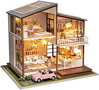 XSLY Duplex Lighting House Building Blocks Assembled Model Handmade Stacked DIY Cozy Cottage with Music City of The Sky Assembly Brick Block Small Houses for Gifts