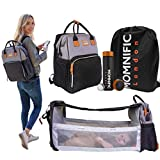 MOMNIFIC All-in-one Diaper Bag Backpack with Foldable Cot Bed & Smart Water Bottle - Multifunctional Stylish Baby Bag with Crib Infant Sleeper, Travel Bassinet, Changing Station & Digital Thermos.