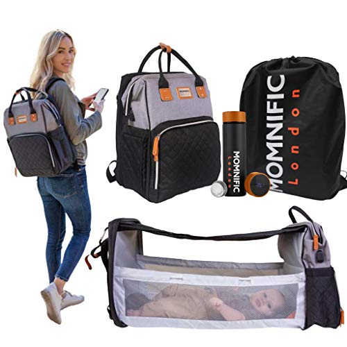 MOMNIFIC All-in-one Diaper Bag Backpack with Foldable Cot Bed & Smart Water...