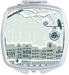 DIYthinker Snow Tree Bird City Streetlight Square Compact Makeup Mirror Portable Cute Hand Pocket Mirrors Gift Multicolor