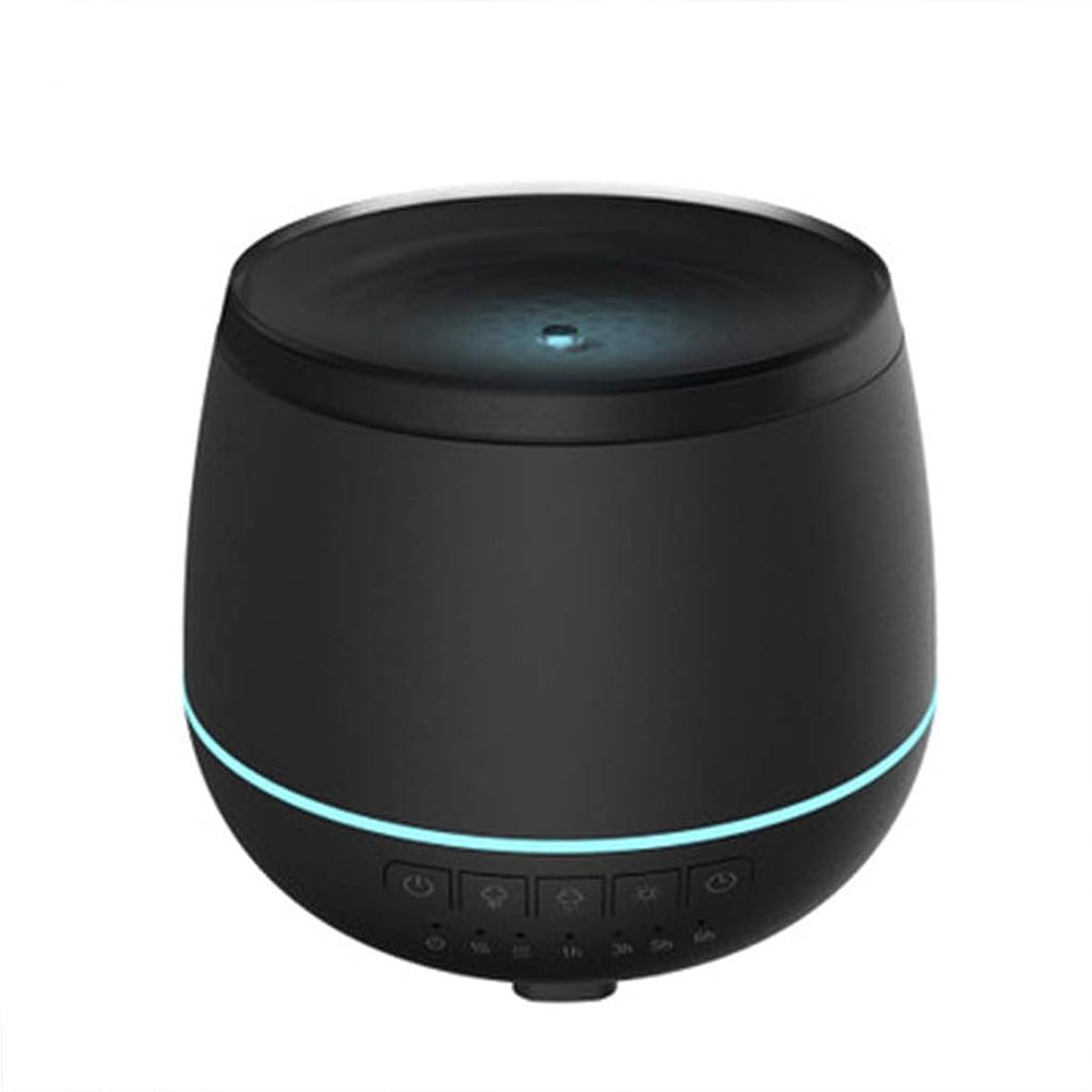 無駄にシェルター正確加湿器スマートブルートゥーススピーカーオーディオ超音波炉エッセンシャルオイルナイトライトミュートホームオフィス (Color : Black)