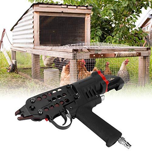 Clavadora de anillo en C, pinza ergonómica para gallinero Pistolas de clavado neumáticas para fijar jaulas para alicates