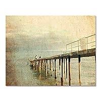 キャンバスレトロスタイル海辺の橋風景画ポスター壁アート写真リビングルームの装飾(50x70cm)1pcsフレームなし