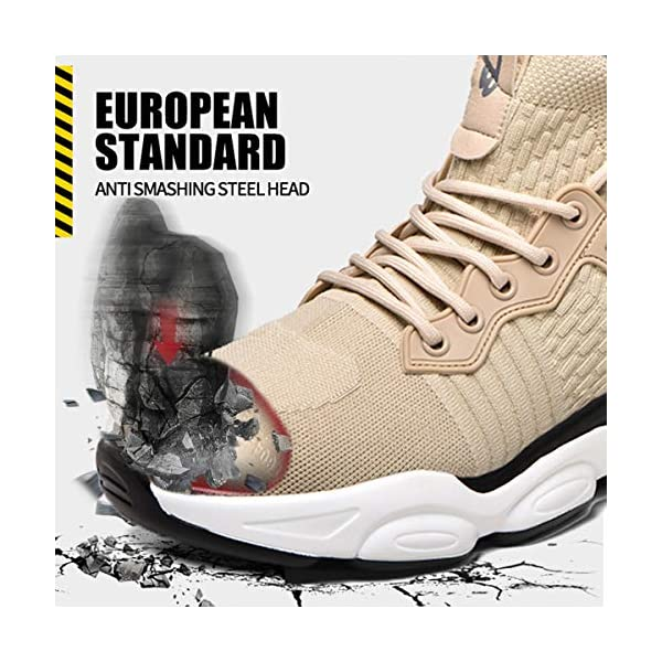 Steel Toe Shoes Waterproof for Men, Indestructible Work Steel Toe Shoes Non-Slip and Lightweight, Safety Toe Steel Shoes with Breathable for Construction Work Wide Fit Safety Sneaker