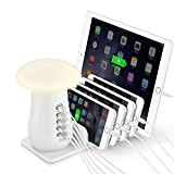 USB Charging Station,Tempo Multi 5-Ports Charging Dock Desktop Charging Stand with QC 3.0 Quick Charge, Mushroom LED Night Light for Kindle iPhone Apple Cell Phone and Android Devices