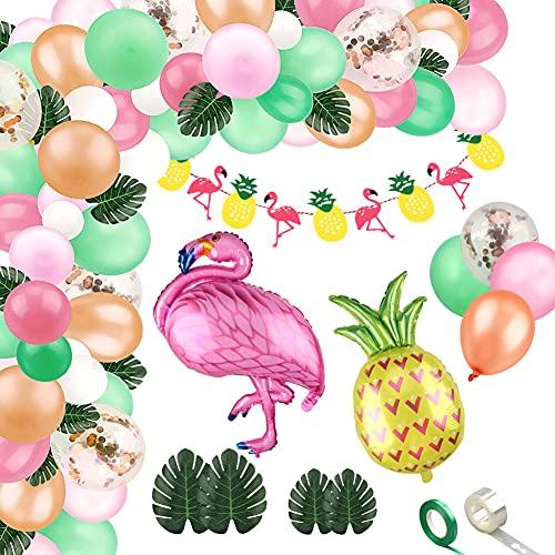 Xiangmall 103 Piezas Arco Guirnalda de Globos Tropicales Globos de Aluminio Flamingo Piña Bandera Hojas de Palma Artificiales para Decoracion Hawaiana Fiesta Cumpleaños Baby Shower (103 Pcs)