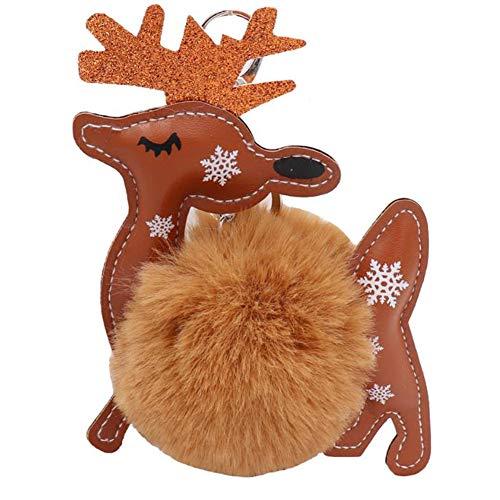 HEELPPO Llavero Llavero De Felpa Llavero De Coche Navidad Moose Fellball Llavero Piel De Conejo Artificial TeléFono MóVil DecoracióN Encantos Encantos De Bolsillo