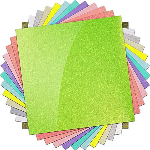 "HTVRONT Glitter Vinyl Permanent Adhesive Vinyl Bundle,12 PCS 12"" X 12"" Glitter Permanent Vinyl for Cricut Machine, Glossy Permanent Glitter Vinyl Sheets with Envelope"