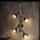 BABYCOW Araña de Personalidad Retro Americana Forma de Altavoz Creativo Decorativo Luces Colgantes Ajustables Sala de Estar Interior Dormitorio E27 Luces Colgantes Cafe Bar Lámpara de Techo