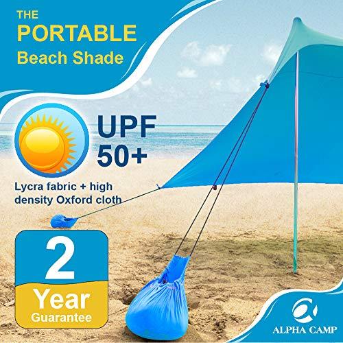 ALPHA CAMP Beach Shade Tent Portable Canopy Sun Shelter with Sandbag Anchors - Family Size 7.6x7.2FT Blue