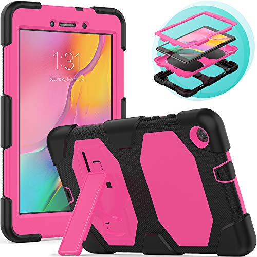 Timecity Samsung Galaxy Tab A 8.0' Case (Only Fit SM-T290/SM-T295 2019 Release).Rugged Stand Case for Galaxy Tab A 8.0 Inch 2019 Without S Pen Tablet Model SM-T290N (Wi-Fi) SM-T295 (LTE)–Black+RoseRed