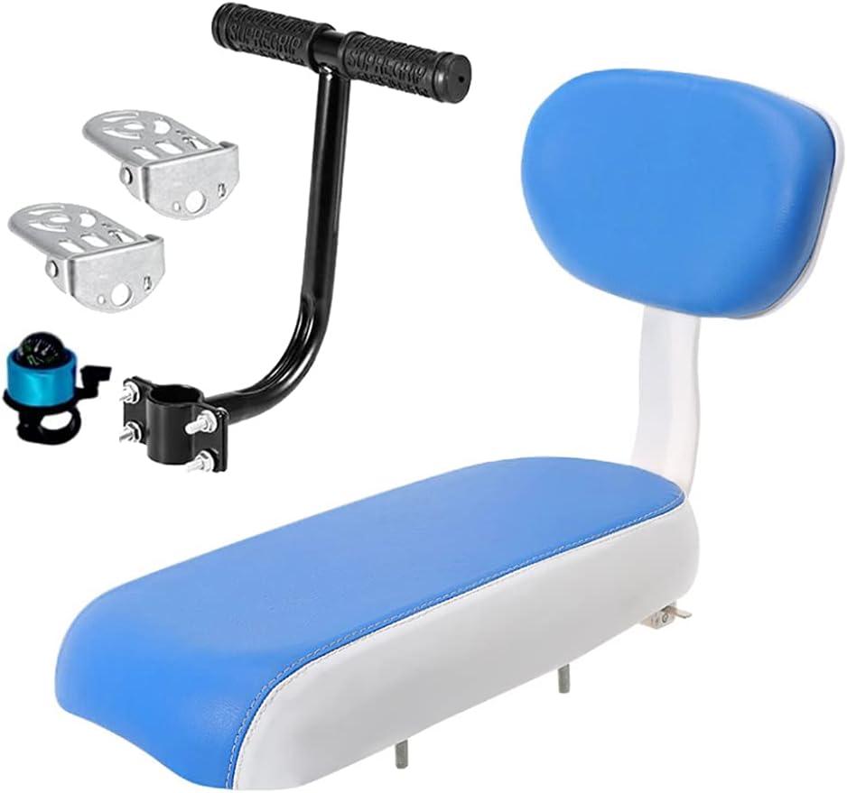 GYKLE Bicycle Rear Seat Cushion Armrest Footrest Set, Kid Carrier Bike Seat Bike Back Child Safety Cushio Seat Set Including Cushion Backrest Armrest Handrail Footrests and Bell
