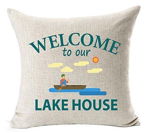 Delia32Agnes Best Summer Funny Sayings Welcome to Our Lake House Linen Throw Pillow Covers Decorative with Zip 18 X 18 for Couch