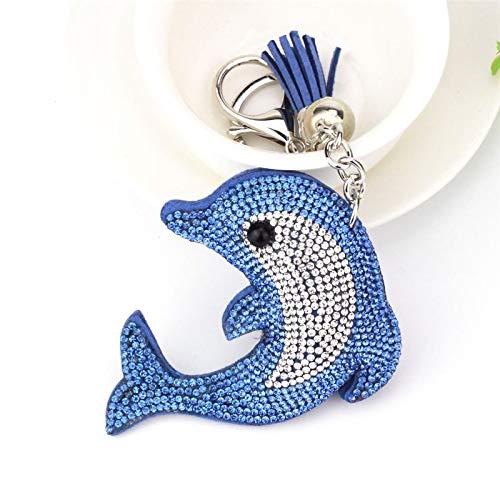 aolongwl Llavero lindo delfín llavero de cristal de diamantes de imitación llavero de coche llavero mujer llavero llavero anillo joyería regalos accesorios