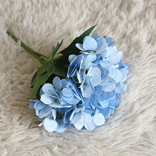 HEFYBA Kompakte Hortensien künstliche Blumen schöne Urlaub Party Home Dekoration Seidenblumen Weihnachten, Stoff, blau, AS SHOWN