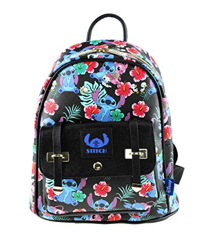 Lilo and Stitch - Stitch and Angel 10' Faux Leather All Over Print Backpack - 16013