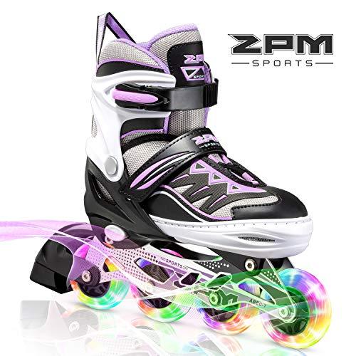 2PM SPORTS Cytia Purple Girls Adjustable Illuminating Inline Skates with Light up Wheels, Fun Flashing Rollerblades for Kids - Small (10C-13C US)