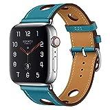 アップルの腕時計のバンド 本革の腕時計バンド アイデア 穴開け設計 通気性 Apple watch series 5/4/3/2/1適用 ブルー 42/44mm