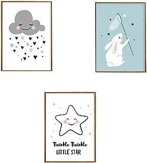 Topcce Bilder f/ür Kinderzimmer 3er Set Kinderposter A4 Wandbilder Deko F/ür M/ädchen Junge Babyzimmer #1