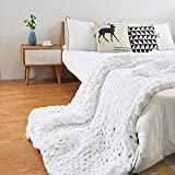 ERLYEEN Chunky Knit Blanket Throw Chenille Cable Handmade Chunky Knit Throw Blanket Warm Soft Cozy for Bed Chair Sofa Best Gift,White 32'x32'