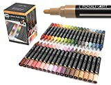 36 Acrylic Paint Pens Skin and Earth Tones Marker Set 3mm Medium Tip For Rock Painting, Canvas, Most Surfaces. Non-Toxic, Quick Dry