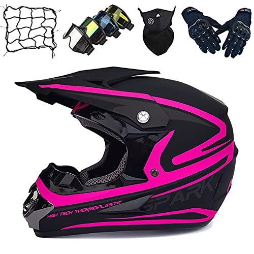 Casco Motocross Niños, Equipo Protección para Casco de Motocicleta Adultos con Gafas/Guantes/Máscara/Red Elástica (5 piezas) Casco Enduro Choque para Jóvenes para MTB MX ATV Dirt Quad Bike - Morado