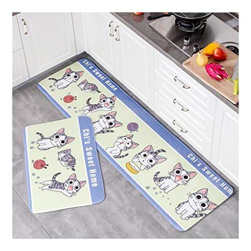 Kitchen Rugs 2 PCS Microfiber Non-Skid/Slip Rubber Back Washable Deurmat Floor Mat Area Rug Carpet Deurmat Buiten Extra Duurzaam (Color : F, Size : 40 * 60+50 * 120CM)