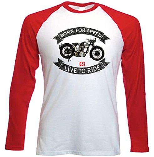 TEESANDENGINES Men's Norton CS1 Camiseta DE Mangas ROJA LARGAS T-Shirt Size Large