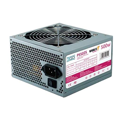 3GO PS502S 500W ATX Edelstahl Netzteil - Netzteile (500 W, 12 cm, 1 Lüfter, Seite, Aktiv, 20+4 pin ATX)