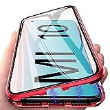 Funda para Xiaomi Mi 10, Adsorción Magnética Carcasa 360 Grados Protección Caso Anti Choque Metal Flip Cover, E-Lush Funda Transparente Vidrio Templado Case Cover para Xiaomi Mi 10, Rojo