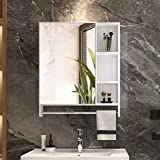 LVSOMT Armadietto per medicinali da parete per bagno, Portaoggetti per specchio in lega di alluminio, Armadietto per toilette/lavabo sospeso con 5 ripiani, 1 barra appendiabiti, Porta