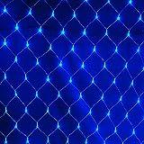 Decoración al aire libre de malla luces de hadas LED multicolor, 8 modos de la lámpara de cortina de cuerdas a prueba agua, para Fiesta de jardín boda navidad (Azul, 3mx2m 200 luces)