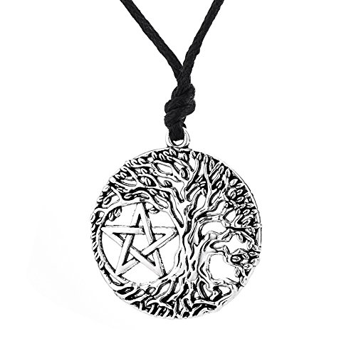 Lemegeton - Collar con Colgante de árbol de la Vida, diseño de Yggdrasil Pentacle Talisman Punk