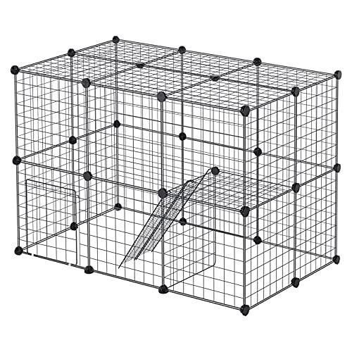 EUGAD Enclos pour Lapin Parc pour Chiot Hamster Rongeur Chat Chaton Petits Animaux Interieur avec Porte métal réglable DIY 28 Panneaux Noir 0010WL