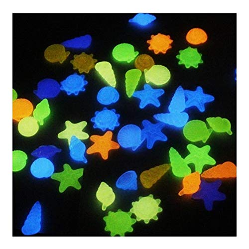 MINGMIN-DZ Dauerhaft 100pcs / 2set Harz-Garten Shell Shaped Außen Kiesel Pool glühende Steine ​​Landschaft Luminous Buntes Conch Aquarium Aquarium