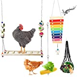 Chicken Toys Chicken Swing and Chicken Bird Xylophone Toy for Poultry Run Rooster Hens Chicks Pet Parrots Macaw Stress Relief for Birds 4 Pcs