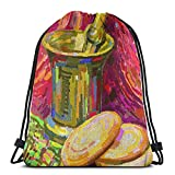 ATUEMACO Pintura digital original Bodegón Mochila con cordón Bolsas de playa Gimnasio Natación Deportes Cuerda Mochilas Bolsa Bolsa de almacenamiento a granel