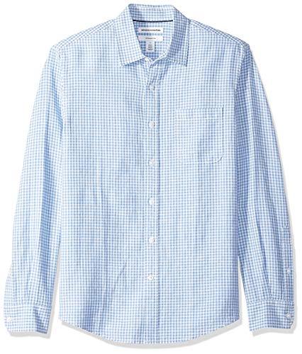 Amazon Essentials - Camisa de lino con manga larga, corte entallado y estampado para hombre, Azul (Blue Gingham), US L (EU L)
