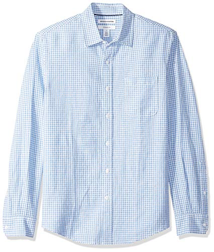 Amazon Essentials Herren-Leinenshirt, Langarm-Shirt, schmale Passform, gestreift, Blue Gingham, US XXL (EU XXXL - 4XL)