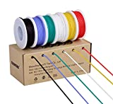 18awg Electronic Wire Kit,Flexible Silicone Wire 6 Color 18 Gauge Hook Up Wire(6 different colored 13 Feet spools) 600V Stranded Wire automotive wiring