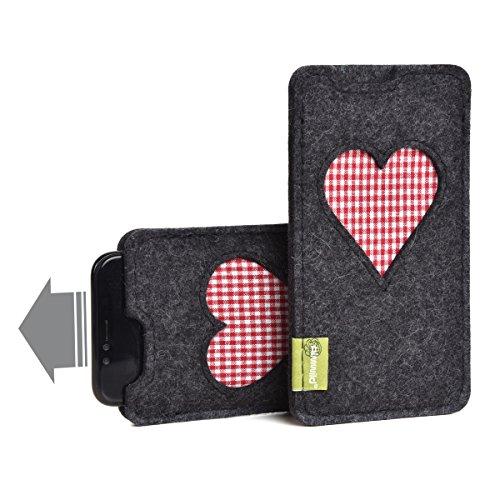 """Almwild® Hülle Tasche für Apple iPhone X/Xs, iPhone10. Aus Natur- Filz in Schiefer – Grau, Schwarz. Modell """"Gschbusi"""" mit Herz. Handyhülle für NUR iPhone! In Bayern handgefertigt."""