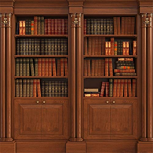 DaShan Antique Bookcase Background 8x8ft Study Room Photography Backdrop Vintage Classical Wooden Brown Bookshelf Wood Cabinet Books Collection Portrait Shoot Poster Wallpaper Graduation