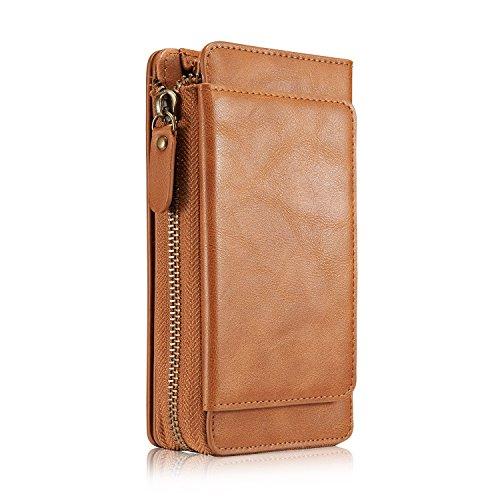 Tacoo Schutzhülle für Samsung Galaxy S8, weiches Leder, Kartenhalter, Geld, Handschlaufe, Reißverschluss, Braun