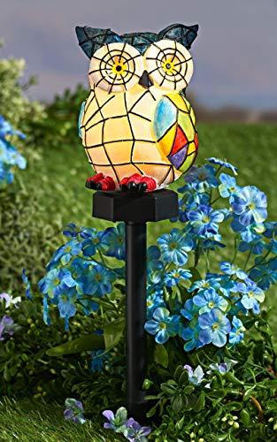 Solar Leuchte Eule im Mosaik-Look, mit Erdspieß, wetterfest, Garten Deko Figur